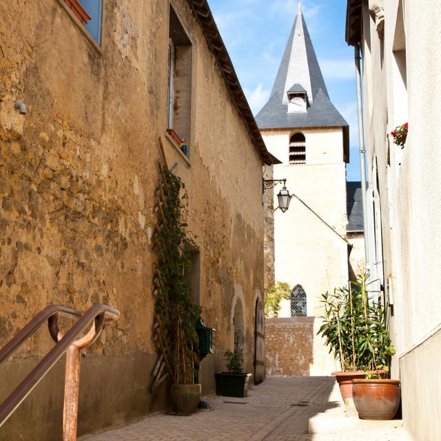 Ruelle de l'église à Malicorne-sur-Sarthe